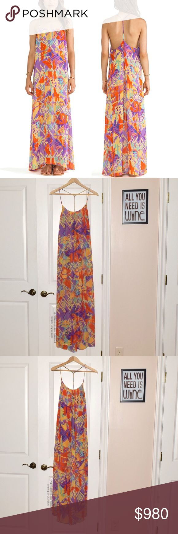SHOW ME YOUR MUMU Draped Dress Intricate Long Gown Size Medium. Brand New Without Tags.  • Beautiful women's maxi dress featuring lightweight chiffon fabric & plunging v-neckline. • Partial open back includes matching t-style straps & gathered fabric accents. • Multicolor printed dakota fanny pack design throughout. • Vibrant shades of yellow, orange, green, blue & purple. • High-low hemline drapes effortlessly. • Swingy & unlined.  # Vacation Bohemian  • Same-Business-Day Shipping (10am…