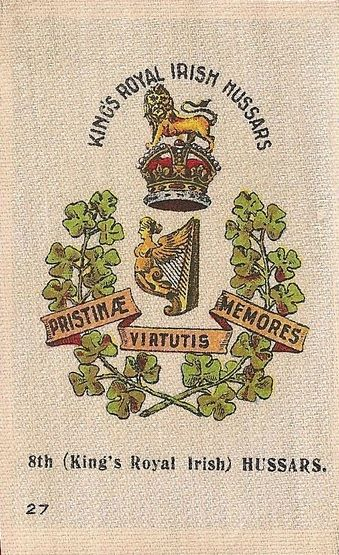 8th (Kings Royal Irish) Hussars - Silk cigarette card, issued by Godfrey Phillips, England 1915