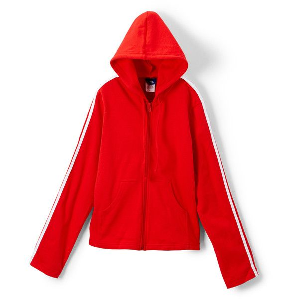 Basic Moves Red Double Stripe Zip-Up Hoodie ($15) ❤ liked on Polyvore featuring tops, hoodies, stretchy tops, red zip up hoodies, zip up top, red hoodies and cotton zip up hoodie