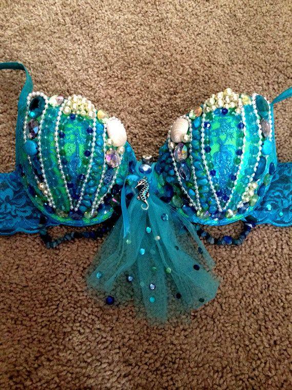 Mermaid Rave Bra by CoutureInWonderland on Etsy