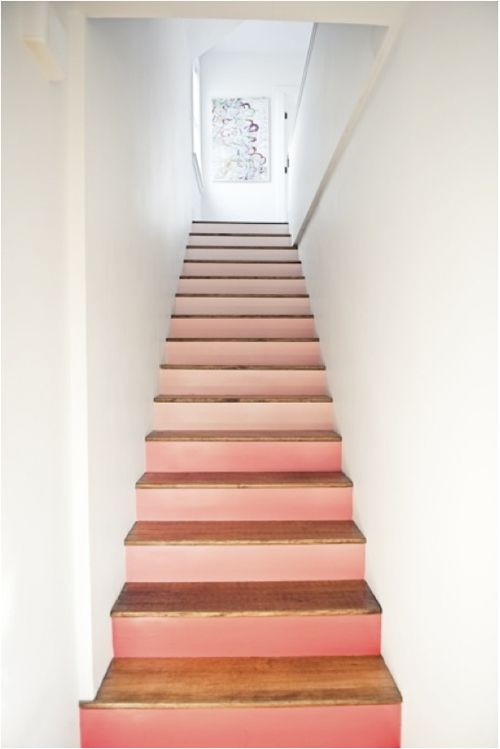 ombre stairs, peach, honeysuckle, coral, pink, paint color, creative stairs