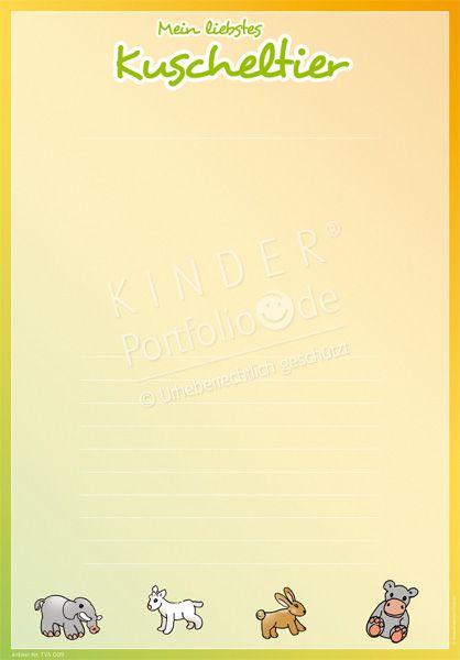 """Kindergarten Portfolio Vorlagen """"Mein liebstes Kunscheltier"""""""