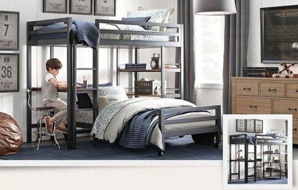 Черно-синий дизайн комнаты для мальчика