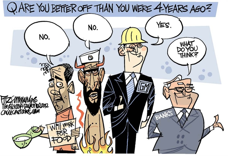 This cartoon is about the one question man people where asking themselves before Obama's reelection. The cartoon shows an average joe, terroist, GM and bank company workers. It attempts to show who came out better with Obama's term and it strongly wants people to understand that the average american did not benefit from Obama http://arleestudents.blogspot.com/2012/10/darian-political-cartoon.html