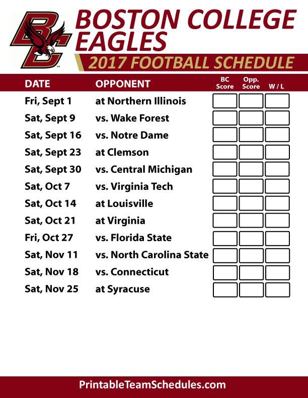 2017 Boston College Eagles Football Schedule