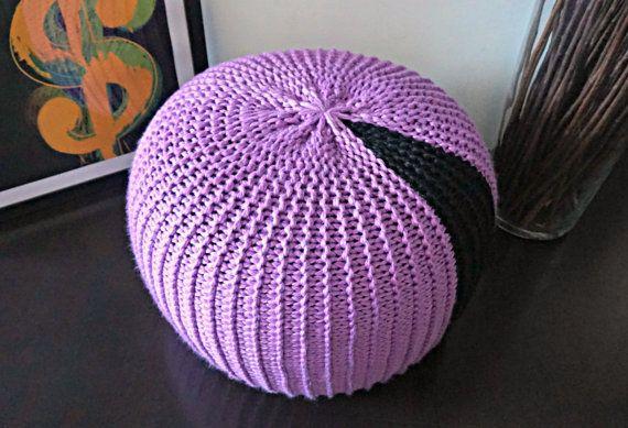 Knitting Pattern Diy Tutorial Xxl Pouf Poof Ottoman