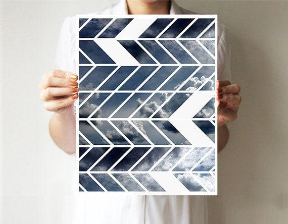 Geometric print  8x10 inches 11x14 inches - Chevron - Art print  - Wall decor - Sky - Tribal