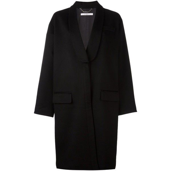 Givenchy oversized mid-length coat found on Polyvore featuring outerwear, coats, jackets, coats & jackets, верхняя одежда, black, lapel coat, mid length coat, oversized coat and givenchy