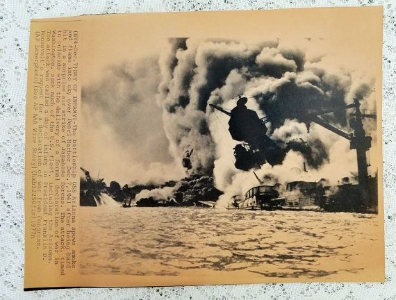 Pearl Harbor AP Press Photo with COA  Day by DaysofYoreTreasures