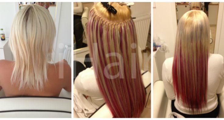 60 cm-es hajhosszabbítás keratinos hőillesztéses technikával fekete-rózsaszín-lila-szőke színű hajfesték és hajtincsek alkalmazásával