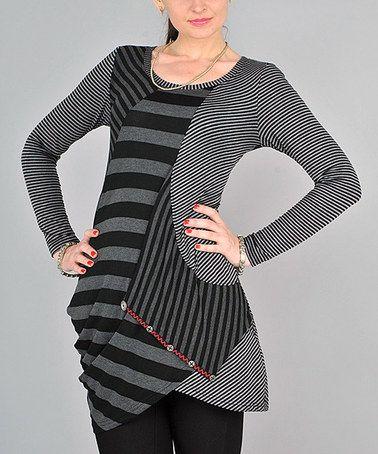Gray Abstract Stripe Sidetail Tunic #zulily #zulilyfinds