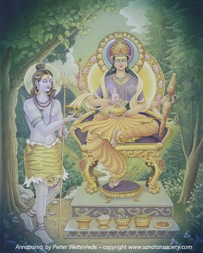 Annapurna is the Hindu goddess of food and cooking. Empowered with the ability to supply food to an unlimited number of people