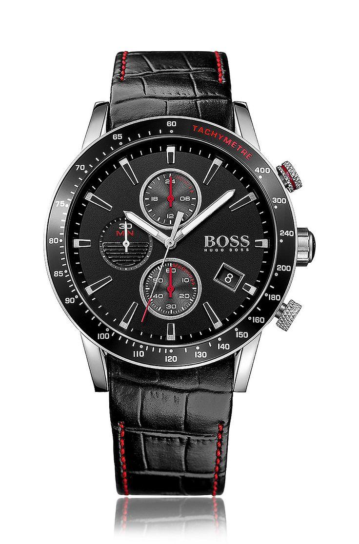 Montre chronographe en acier inoxydable noir avec un cadran noir et un bracelet en cuir Assorted-Pre-Pack de BOSS pour Hommes pour 319,00 € Sur la boutique en ligne officielle HUGOBOSS free shipping