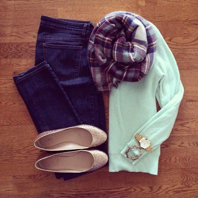 Mint Sweater, Burgundy Plaid Blanket Scarf, Glitter Flats | #weekendwear #casualstyle #liketkit | http://www.liketk.it/RZfG