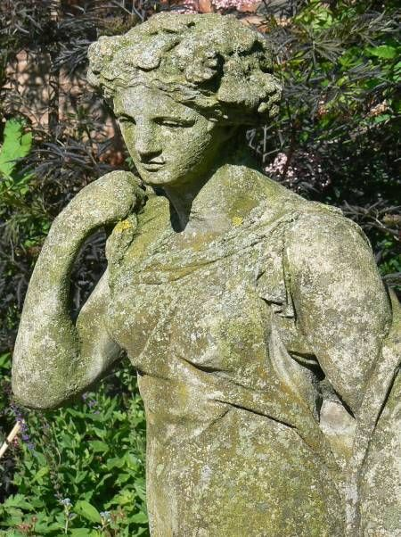 Stone Statues For Garden 421 best garden statues images on pinterest garden statues old statue turning green workwithnaturefo