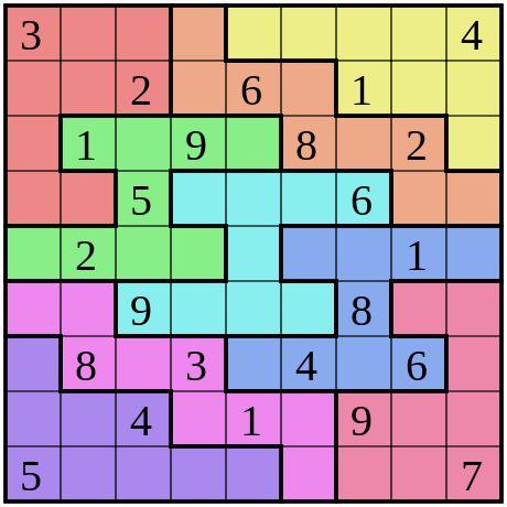 Sudoku de regiones irregulares.
