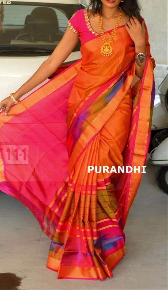 Orange silk saree - lovely saree and lovely figure