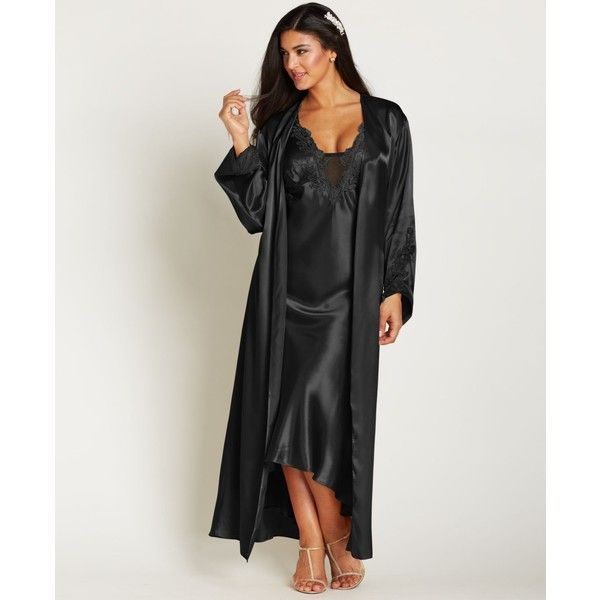 Flora by Flora Nikrooz Plus Size Satin Stella Robe ($47) ❤ liked on Polyvore featuring plus size women's fashion, plus size clothing, plus size intimates, plus size robes, black, plus size bathrobes, satin dressing gown, plus size bath robe and womens plus size robes