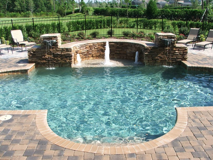 Inground Spas With Stack Stone : Close in the semicircle for hot tub change brick