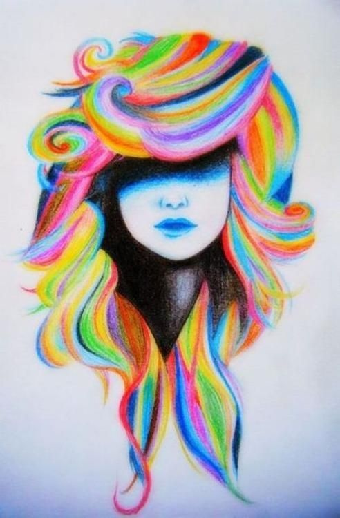girl with rainbow hair drawing - Google Search