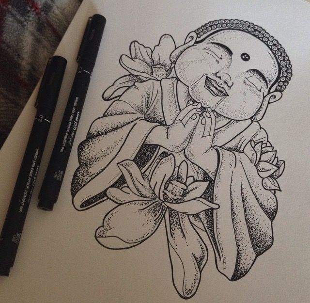 Dotwork done with fineliner pens #buddha #buda #drawing #pens #dotwork #peace #tattoo #fineliners #pens #sketch