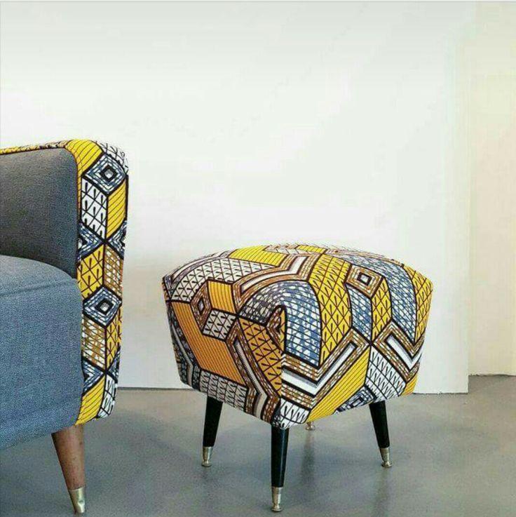 Les petits d tails qui r chauffent un int rieur fauteuil et pouf en wax africa decor en 2019 - Canape style africain ...
