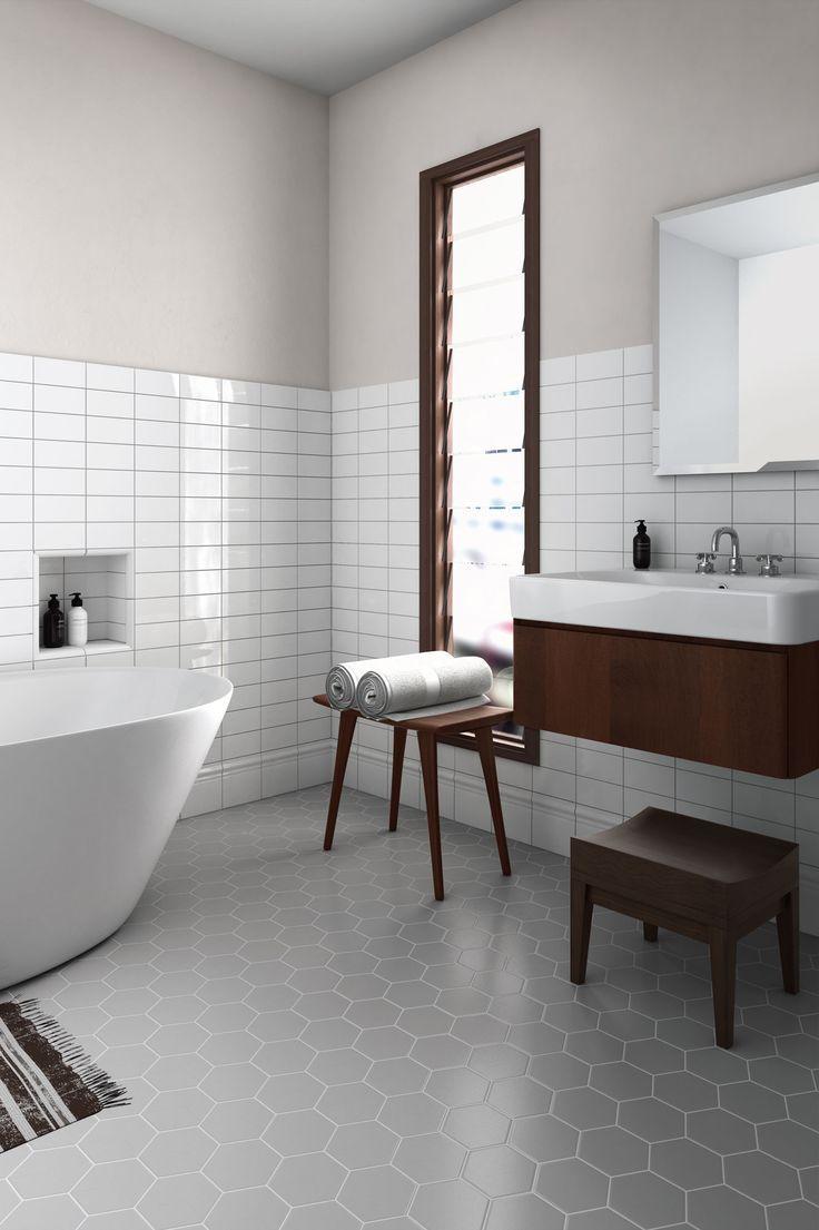 scale grey floor tile with horizontal subway tile