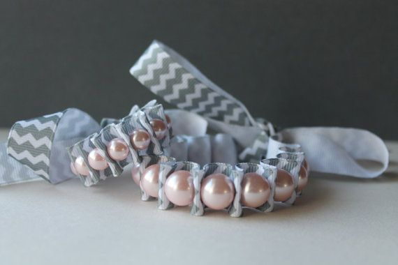 Mother and Baby Matching Pink Pearl with Gray Chevron Ribbon
