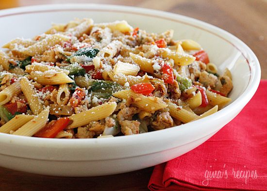Pasta with Italian Chicken Sausage, Peppers and Escarole | Skinnytaste: Tasty Recipe, Mail, Fun Recipes, Italian Sausage, Sausages, Ww Points, Italian Chicken, Chicken Sausage