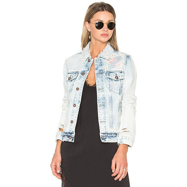 TORTOISE Steppe Denim Jacket ($460) ❤ liked on Polyvore featuring outerwear, jackets, coats & jackets, distressed denim jacket, denim jacket, cotton jacket, white denim jacket and jean jacket