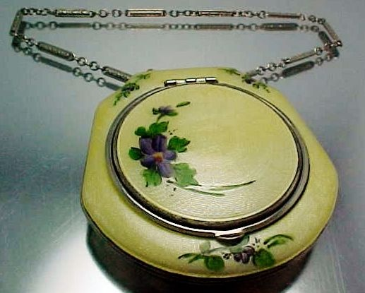 1920's Fine Guilloche Yellow Enamel Compact Chatelaine