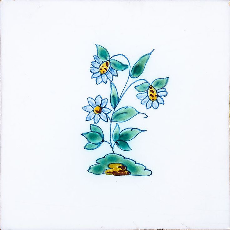 Small Flowers Poly On White Glazed Ceramic Tiles 5x5 - Country Floors of America LLC.