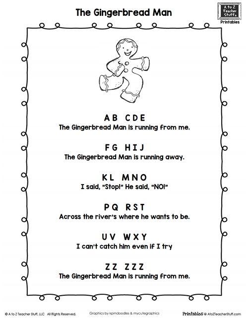 Gingerbread Man Poem {free printable}