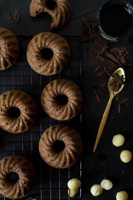 Red wine, chocolate and macadamia mini bundt cakes by bognarreni, via Flickr