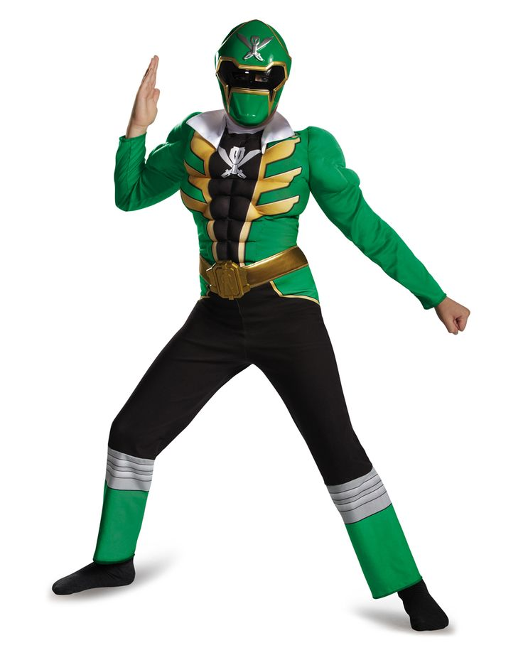 Green Power Ranger Muscle Jumpsuit Child Costume exclusively at Spirit Halloween - Create a powerful opportunity on Halloween when you gear up in the officially licensed Power Rangers Green Power Ranger Muscle Jumpsuit Child Costume. This green, black and gold jumpsuit features muscle torso and arms along with character details, belt, buckle and a matching character mask. Get yours for $29.99