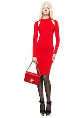 Red Long-Sleeved Cut-Out Turtleneck Dress, Versace
