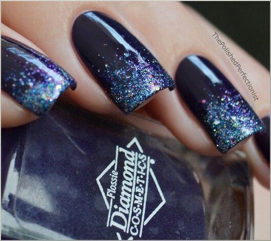 Blue Nail Designs For Prom: China Glaze Liquid Crystal Over Navy Blue Nail Polish