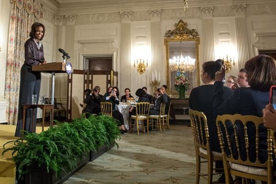 "First Lady Michelle Obama delivers remarks prior to a screening of the movie ""The Inevitable Defeat of Mister and Pete,"" and a discussion in the State Dining Room of the White House"