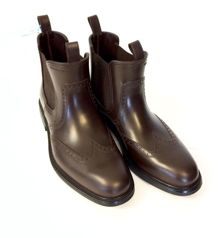 Salvatore Ferragamo Men's Brown Boson Wing Tip Rain Boots