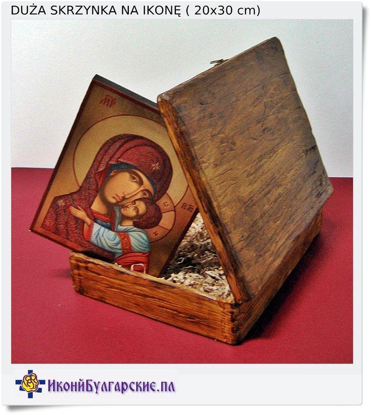 Drewniana stylizowana skrzynka na ikonę