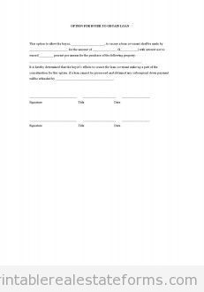 Printable option for buyer to obtain loan template 2015