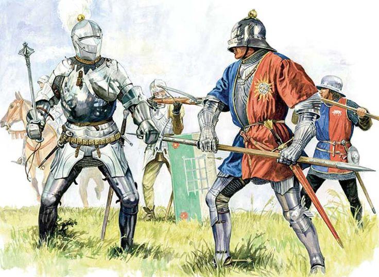 Soldados a pie y caballeros ingleses