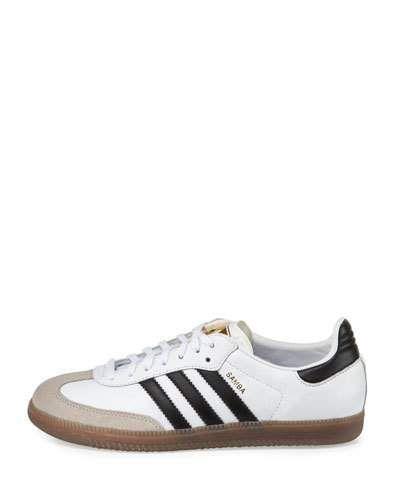 X3D8B Adidas Samba Classic Leather Sneaker, White/Black/Gum