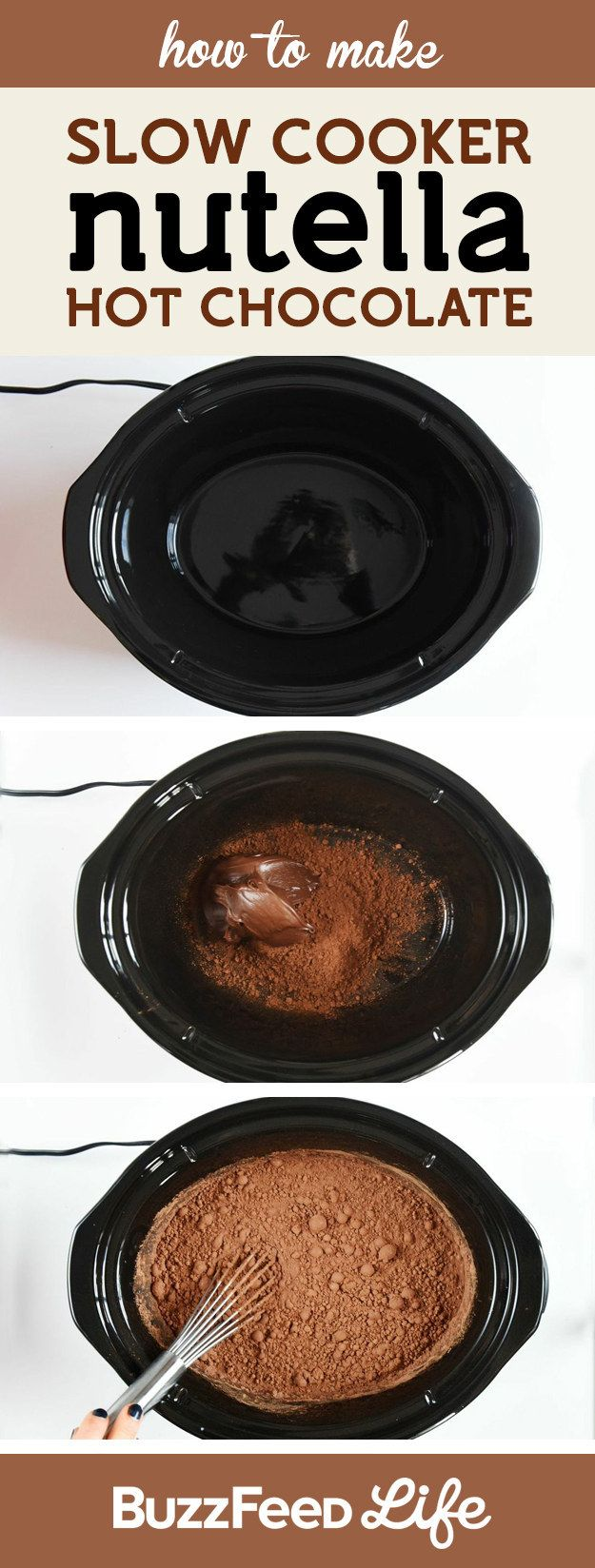 Combine cocoa powder, Nutella, and milk in a slow cooker, and cook for two hours on low: | These Easy and Inexpensive Nutella Desserts Are All You Need In Life