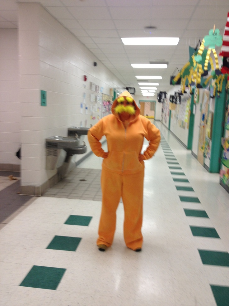 Lorax costume for dr seuss day dyed white sweats with for Body paint party city