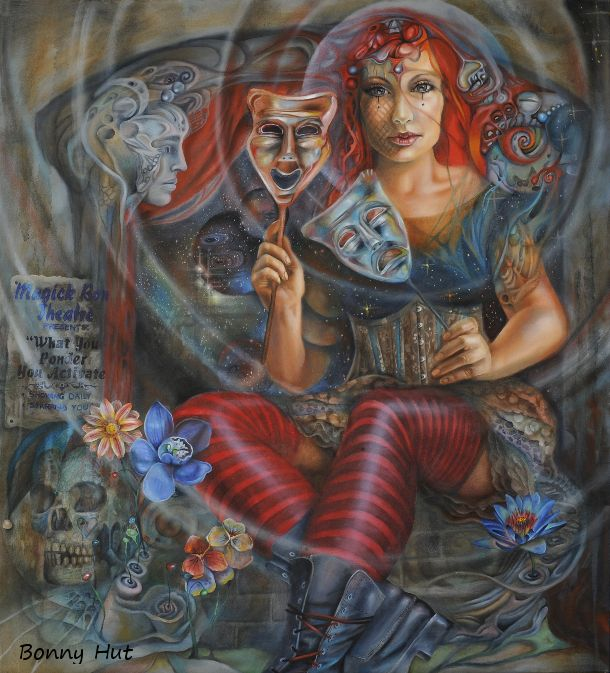 """All the world's a stage, and all the men and women merely players..."" Shakespeare. A circus woman in a corset. wearing doc martin boots, with two theatre masks, in front of a small surreal stage. Australian / South African visionary artist, Bonny Hut, has started a series of oil paintings based on a ""Carnival"" theme. Some of the newer ones will have a political edge. This particular painting reminds  us that ""What we ponder, we activate."""