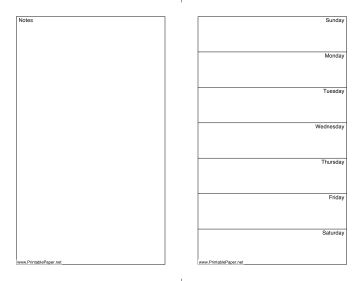 This printable weekly calendar, on letter-sized paper, has an undated week at the right and a blank area for notes on the left. Free to download and print