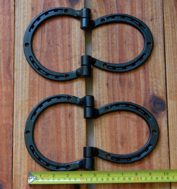 Hinges, horseshoes for shed, barn doors, gate, corral, Western decor, heavy duty, MADE TO ORDER. $89.00, via Etsy.