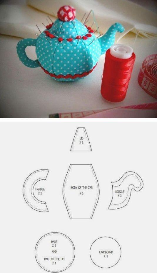 Pot pin cushion pattern / Выкройка текстильной игольницы-чайничка: