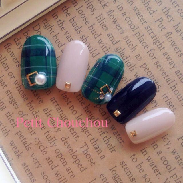 #Nail #plaid #Green #Navy #White #AW